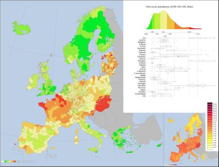 Europe oral cavity and pharynx cancer map